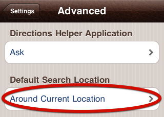 Default Search Location