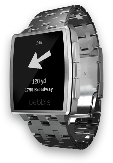 Pebble smart watch with Where To? Companion App
