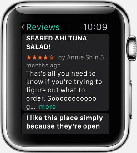 Where To? for Apple Watch: place reviews