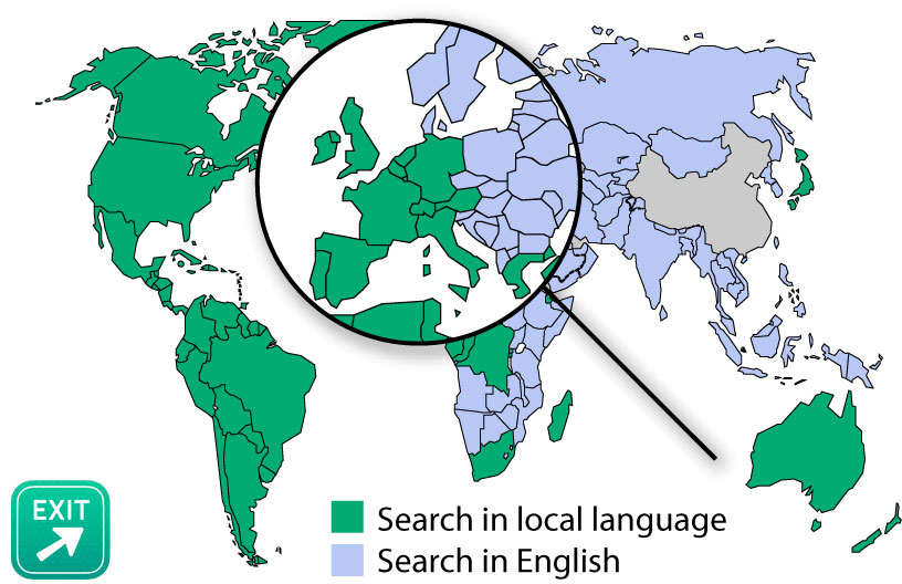 Coverage map of local language search in Where To?