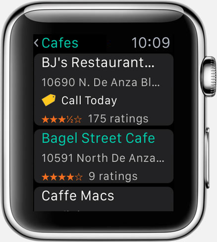 Where To? for Apple Watch: result list